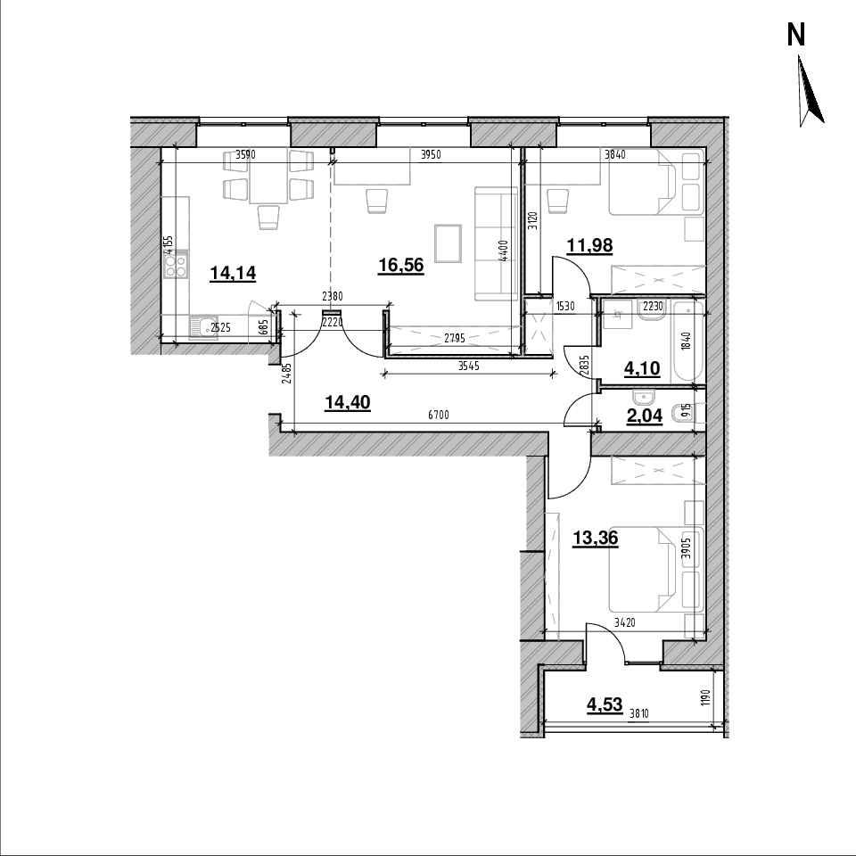 ЖК Компаньйон: планування 3-кімнатної квартири, №13, 81.11 м<sup>2</sup>