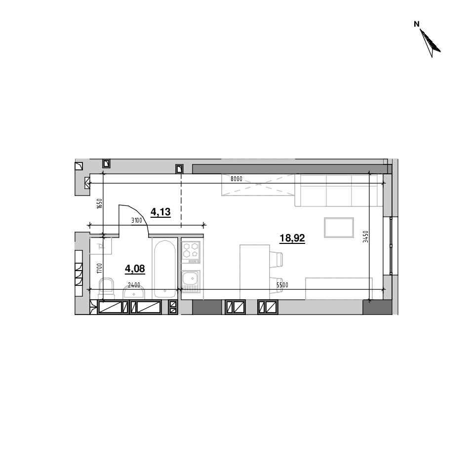 ЖК Riel City: планування 1-кімнатної квартири, №208, 27.13 м<sup>2</sup>