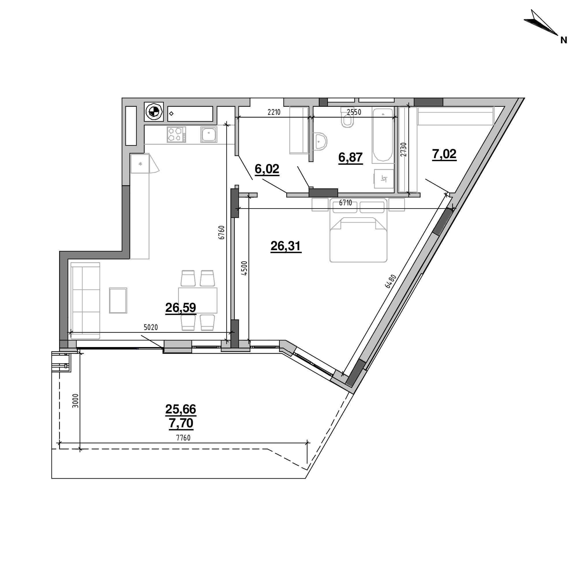 ЖК Підзамче. Вежа: планування 2-кімнатної квартири, №7, 80.51 м<sup>2</sup>