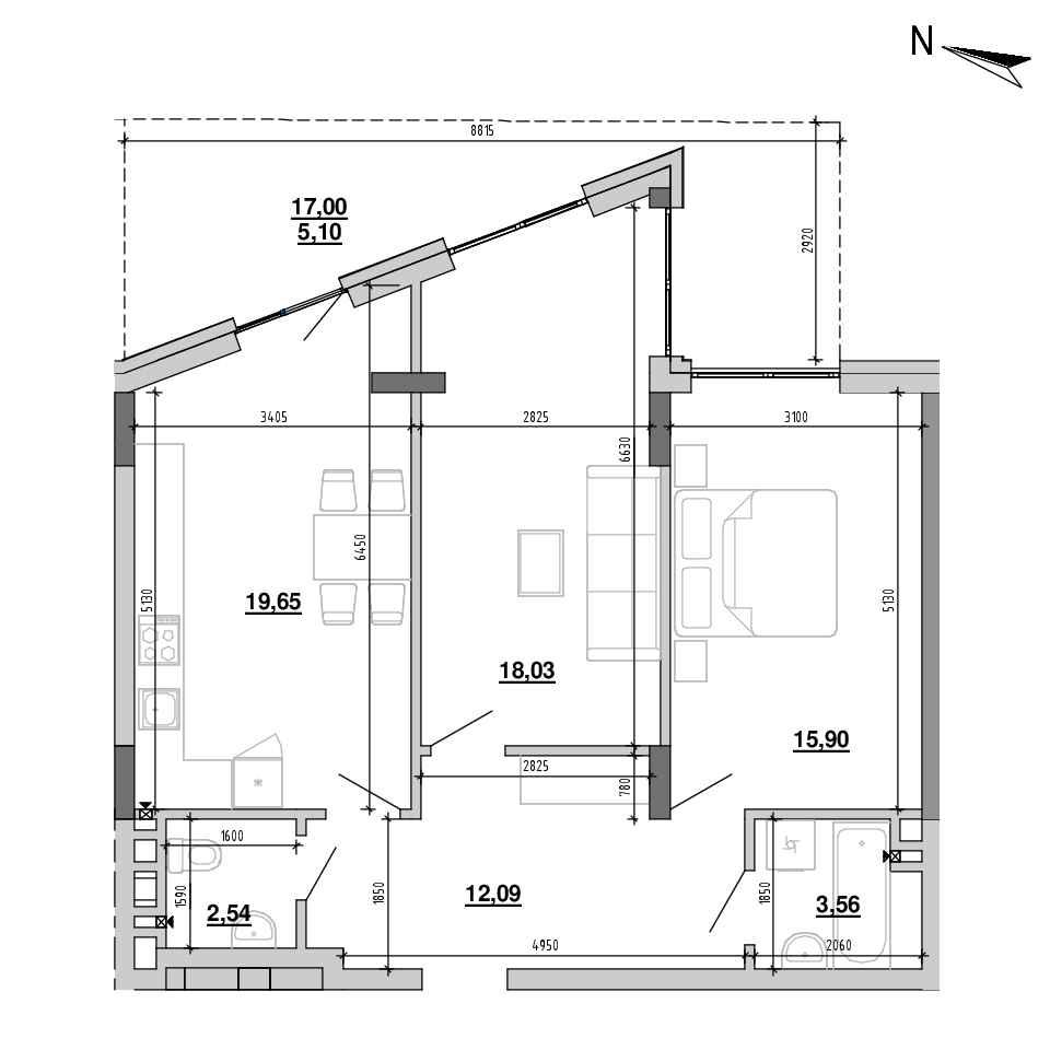 ЖК Підзамче. Брама: планування 3-кімнатної квартири, №4, 76.87 м<sup>2</sup>