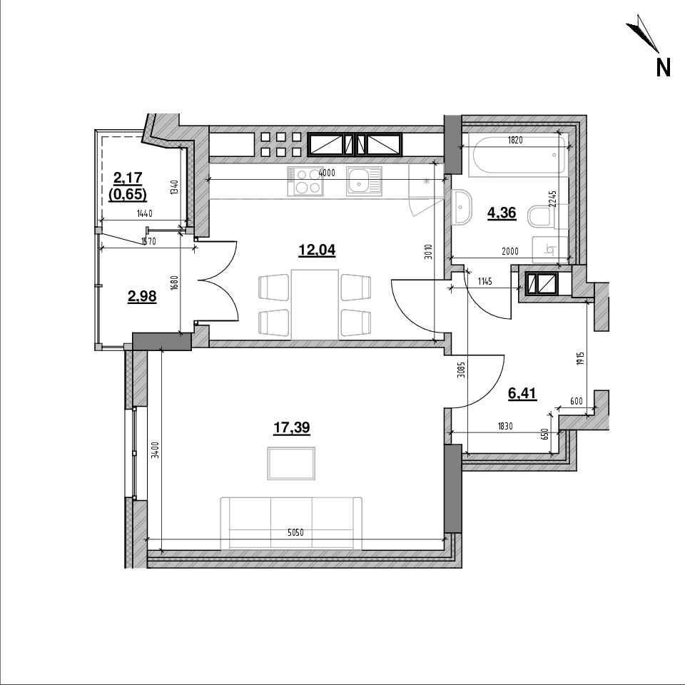 ЖК Ярославенка: планування 1-кімнатної квартири, №16, 43.82 м<sup>2</sup>