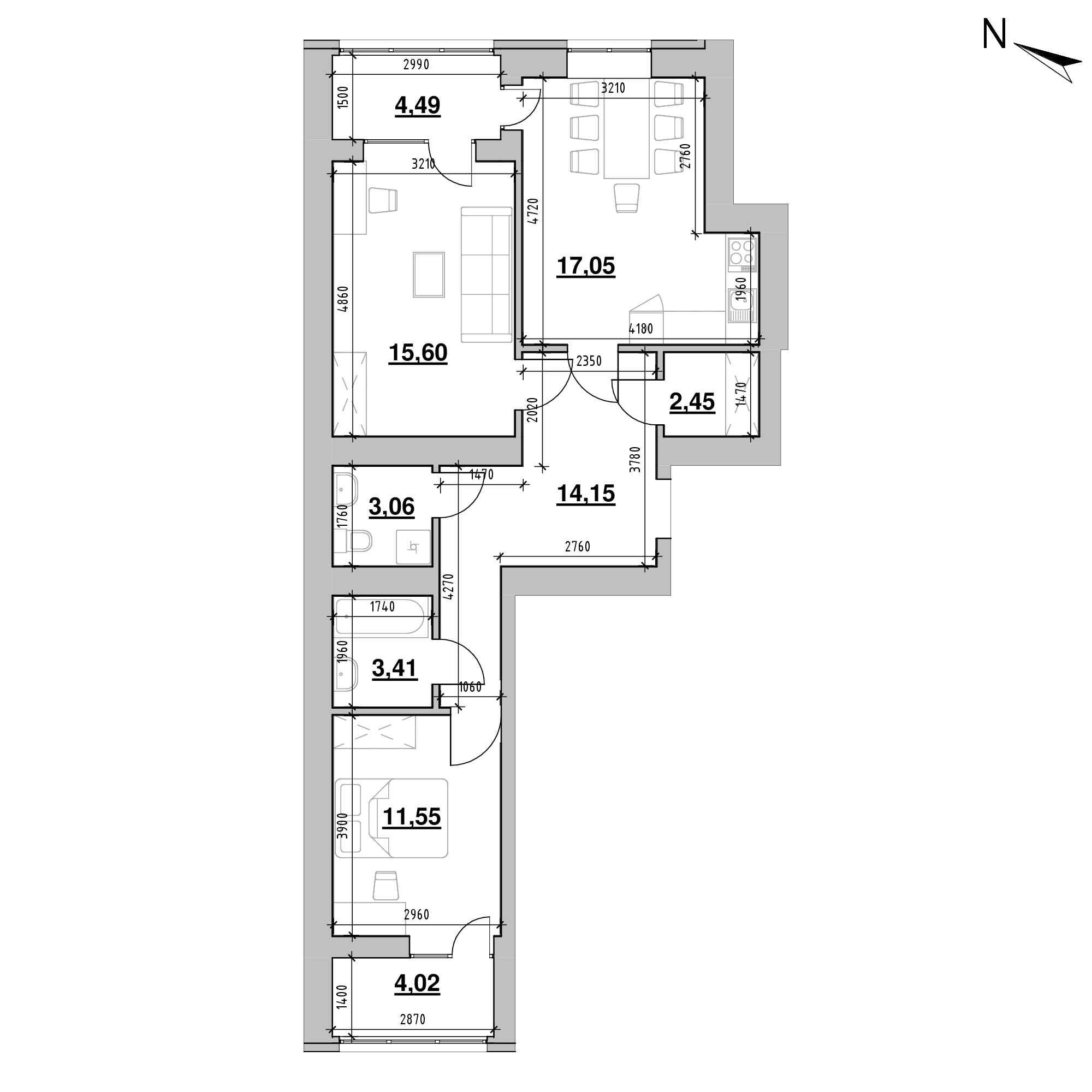 ЖК Шенген: планування 2-кімнатної квартири, №18, 75.78 м<sup>2</sup>