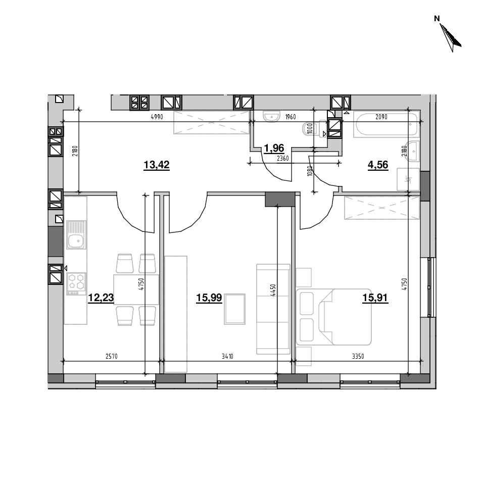 ЖК Riel City: планування 2-кімнатної квартири, №98, 64.07 м<sup>2</sup>