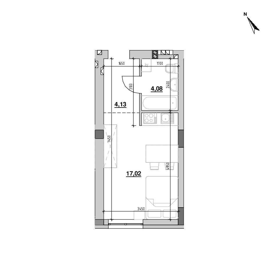 ЖК Riel City: планування 1-кімнатної квартири, №214, 25.23 м<sup>2</sup>