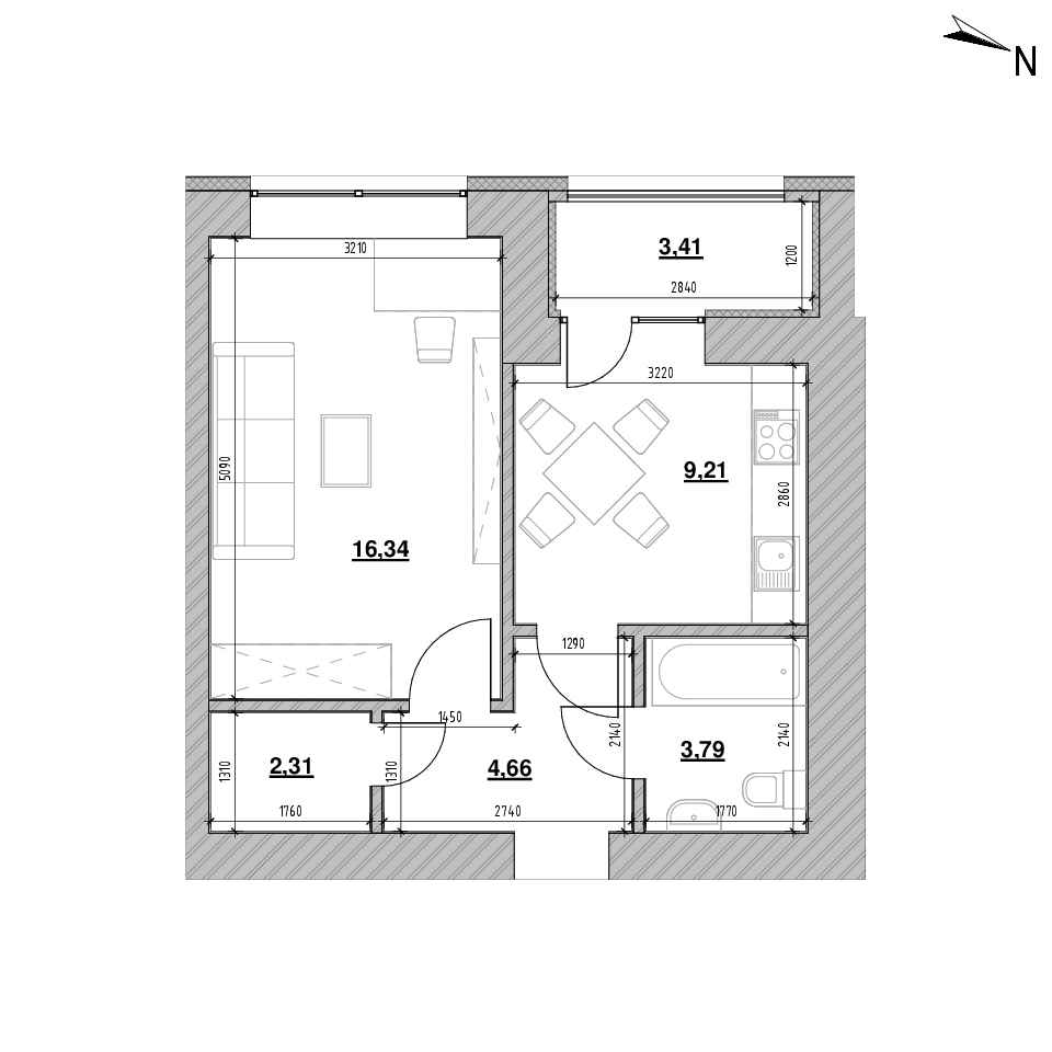 ЖК Шенген: планування 1-кімнатної квартири, №93, 39.72 м<sup>2</sup>
