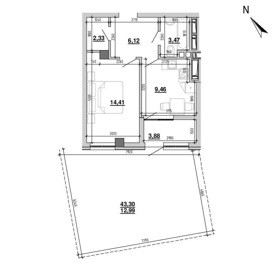 ЖК Підзамче. Вежа: планування 1-кімнатної квартири, №19, 52.66 м<sup>2</sup>