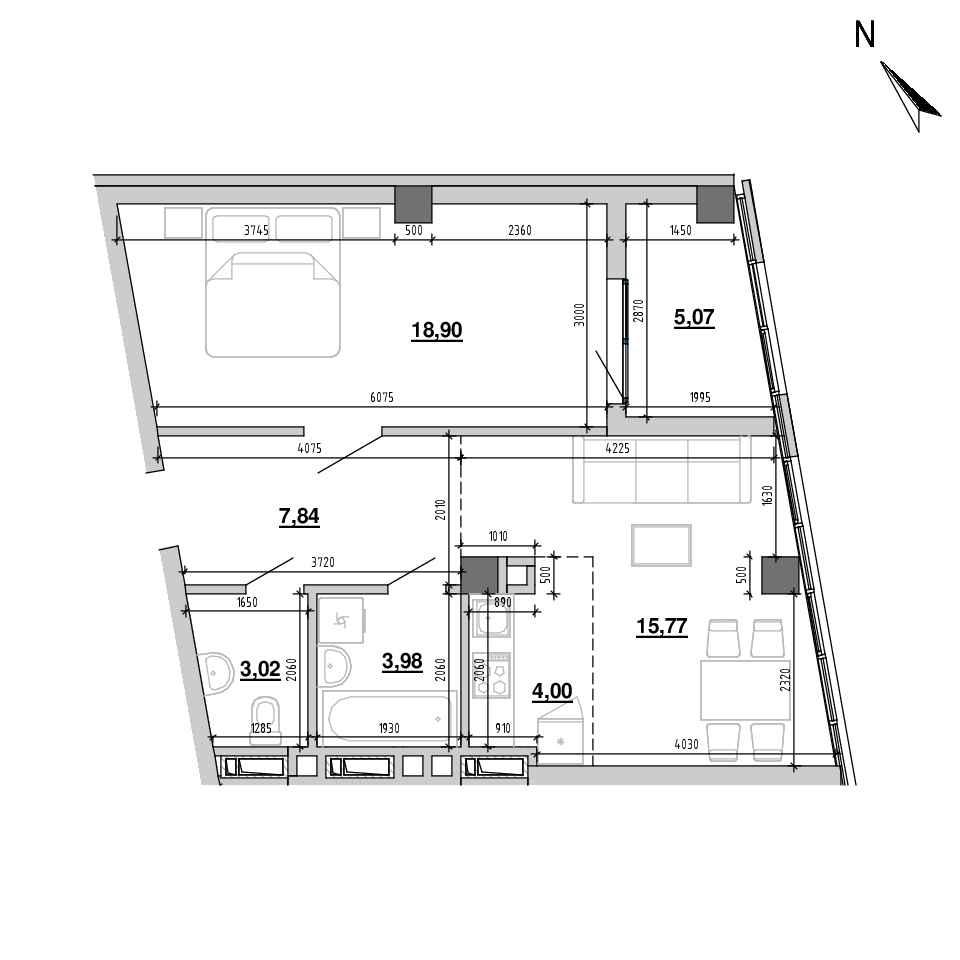 ЖК Підзамче. Вежа: планування 2-кімнатної квартири, №6, 58.58 м<sup>2</sup>