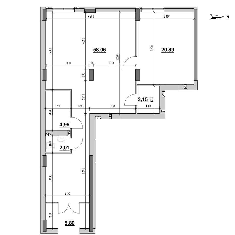ЖК Riel City: планування приміщення площею 94.87 м<sup>2</sup>