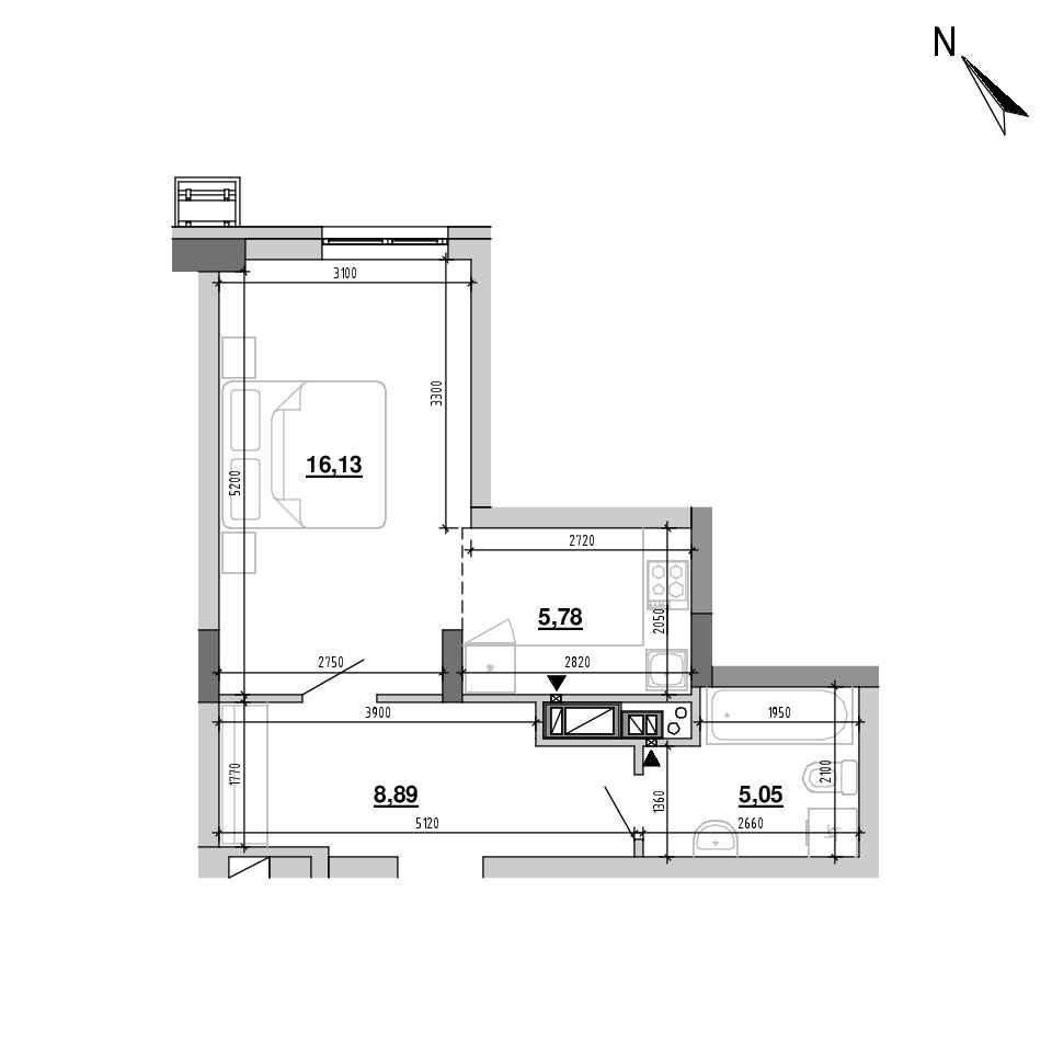 ЖК Підзамче. Вежа: планування 1-кімнатної квартири, №18, 35.85 м<sup>2</sup>