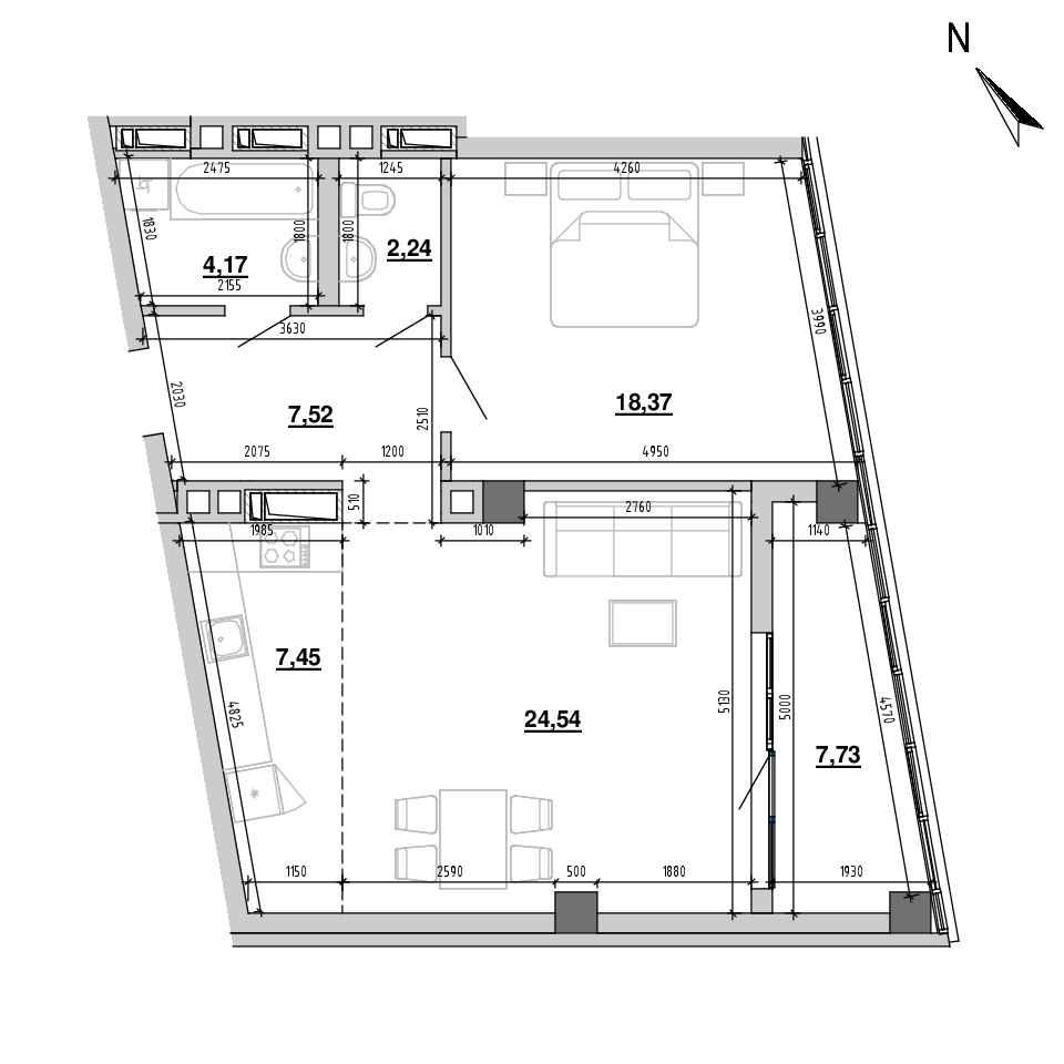 ЖК Підзамче. Вежа: планування 2-кімнатної квартири, №7, 72.02 м<sup>2</sup>