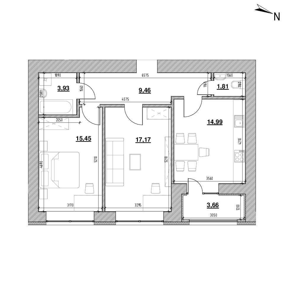 ЖК Шенген: планування 2-кімнатної квартири, №91, 66.47 м<sup>2</sup>