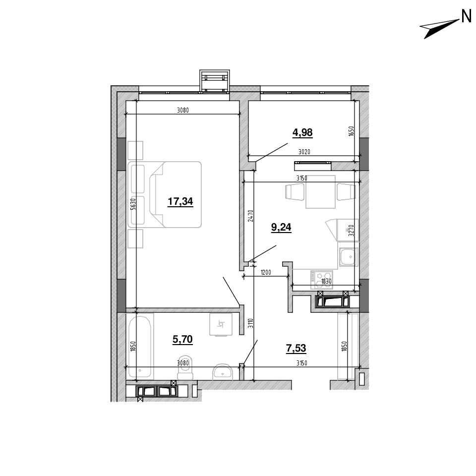 ЖК Підзамче. Новий Форт: планування 1-кімнатної квартири, №5, 44.79 м<sup>2</sup>