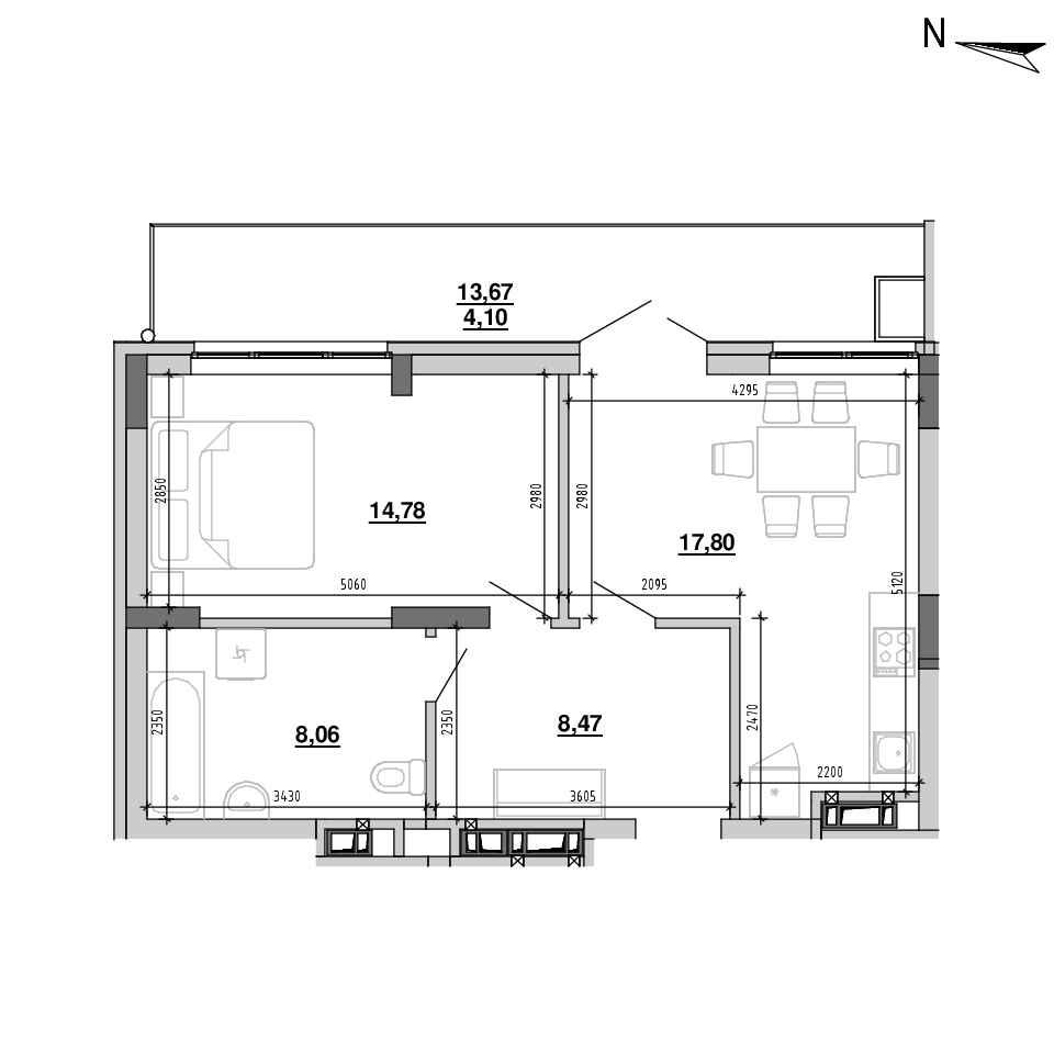 ЖК Підзамче. Новий Форт: планування 1-кімнатної квартири, №31, 53.21 м<sup>2</sup>