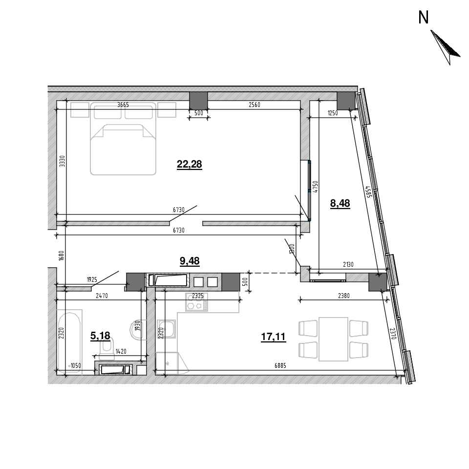 ЖК Підзамче. Вежа: планування 1-кімнатної квартири, №17, 62.53 м<sup>2</sup>