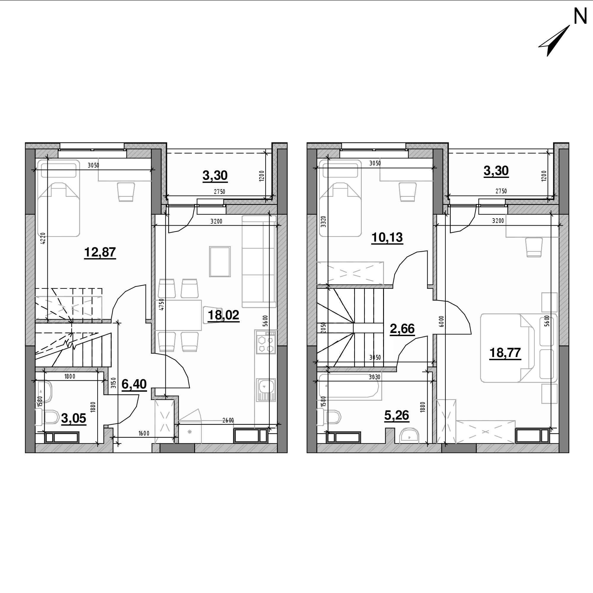 ЖК Оk'Land: планування 3-кімнатної квартири, №633, 83.76 м<sup>2</sup>