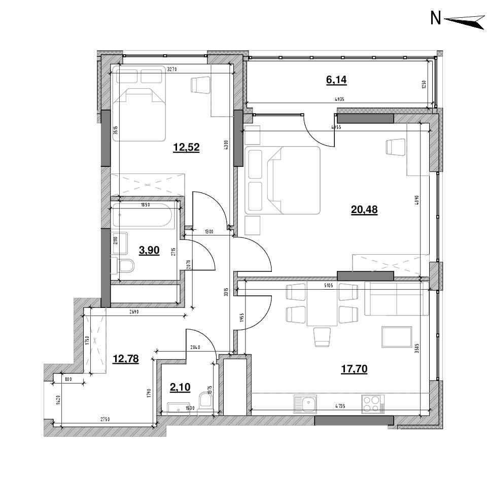 ЖК Nordica Residence: планування 2-кімнатної квартири, №38, 75.62 м<sup>2</sup>