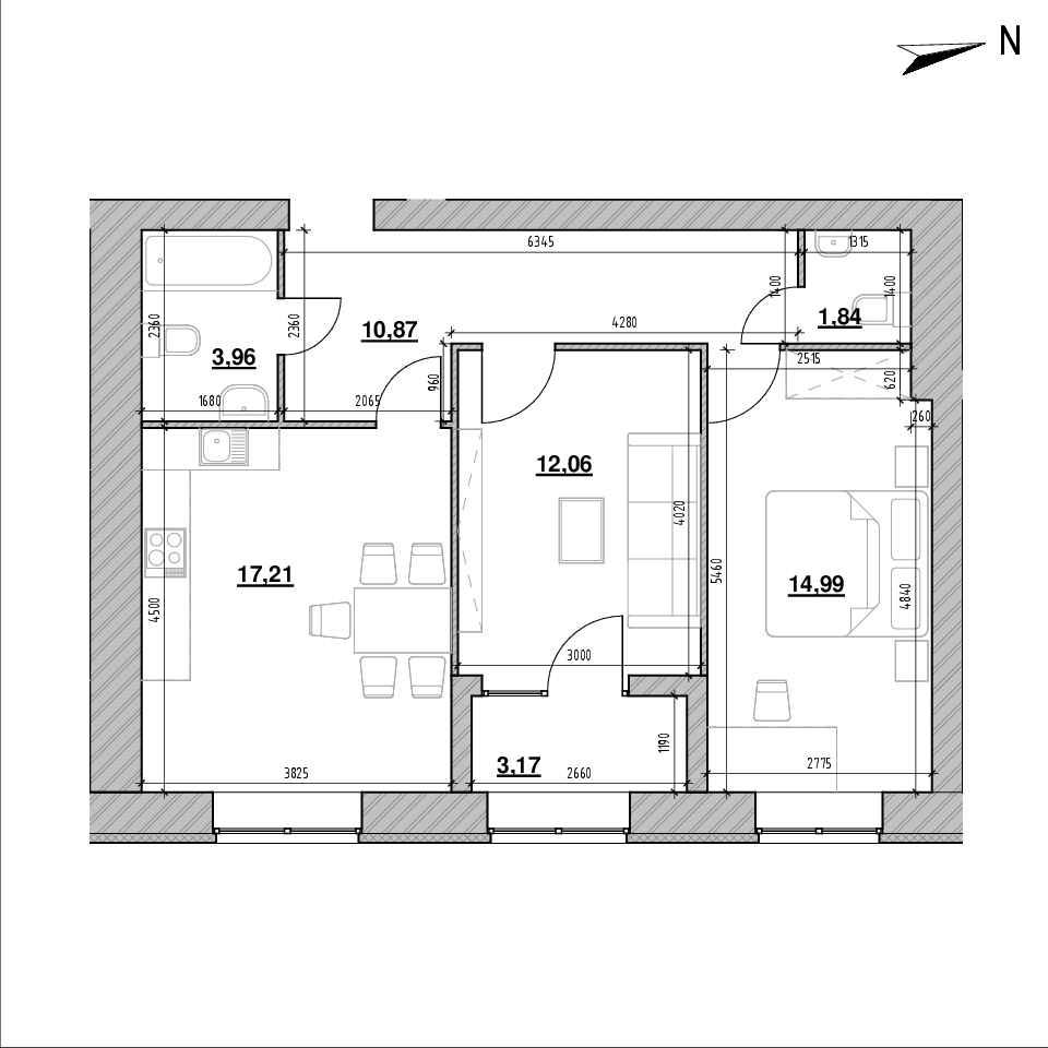 ЖК Компаньйон: планування 1-кімнатної квартири, №103в, 64.1 м<sup>2</sup>
