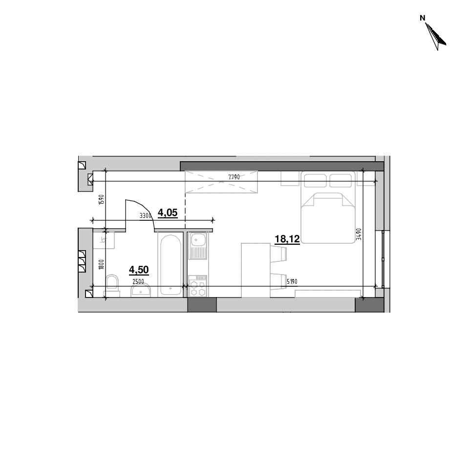 ЖК Riel City: планування 1-кімнатної квартири, №105, 26.67 м<sup>2</sup>