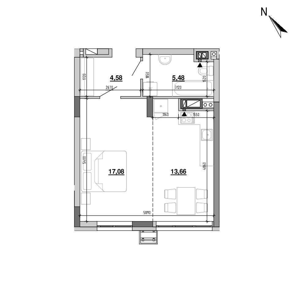ЖК Підзамче. Вежа: планування 1-кімнатної квартири, №1, 40.8 м<sup>2</sup>