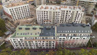 ЖК «Містечко Підзамче»: в другій черзі в секції Б-1 комплексу «Новий Форт» триває оздоблення фасаду