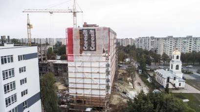 ЖК «Америка»: у будинку В-2 розпочата робота з облаштування фасаду