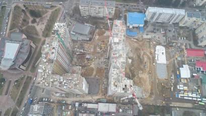 ЖК Оk'Land: в четвертій секції будинку №1 триває влаштування вертикальних конструкцій підвалу